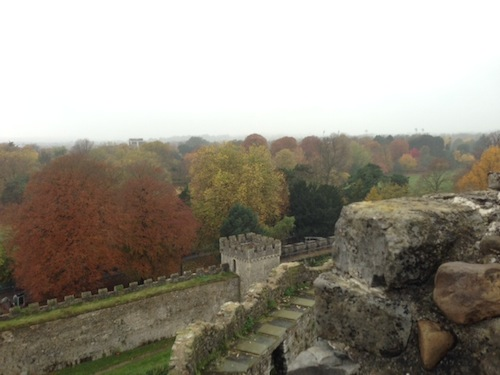 Beautiful autumn leaves in Cardiff Castle